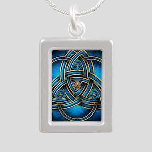 Blue Celtic Triquetra Silver Portrait Necklace