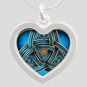 Blue Celtic Triquetra Silver Heart Necklace