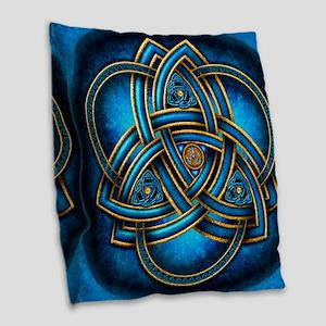 Blue Celtic Triquetra Burlap Throw Pillow