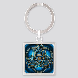 Blue Celtic Triquetra Square Keychain