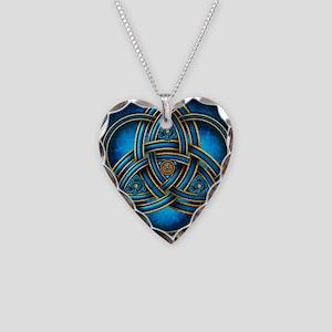 Blue Celtic Triquetra Necklace Heart Charm