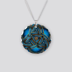 Blue Celtic Triquetra Necklace Circle Charm