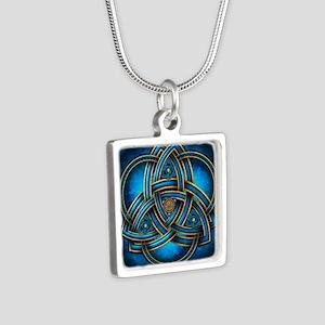 Blue Celtic Triquetra Silver Square Necklace