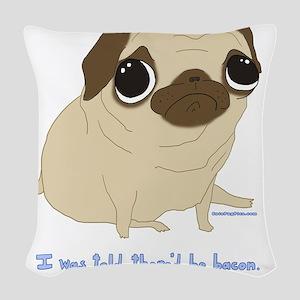 Bacon Pug Woven Throw Pillow