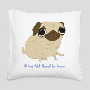 Bacon Pug Square Canvas Pillow