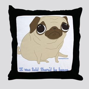 Bacon Pug Throw Pillow