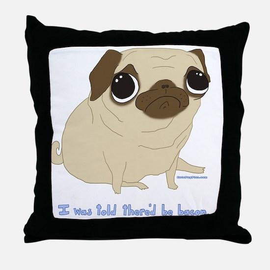 Bacon Pug Throw Pillow