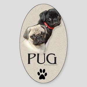 Two Pugs Sticker (Oval)