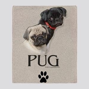 Two Pugs Throw Blanket