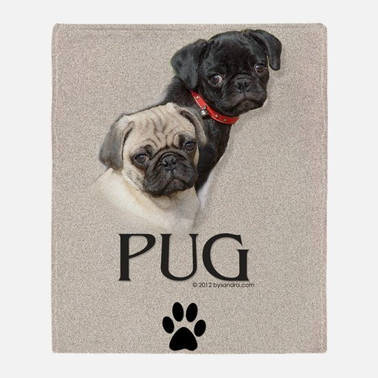 Two Pugs Throw Blanket