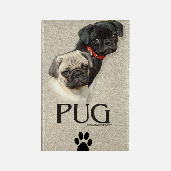 Two Pugs Rectangle Magnet