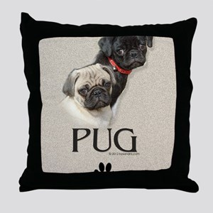 Two Pugs Throw Pillow