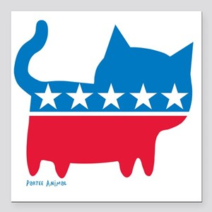 """THE CAT PARTY Square Car Magnet 3"""" x 3"""""""