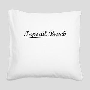 Topsail Beach, Vintage Square Canvas Pillow
