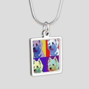 Westie a la Warhol! Silver Square Necklace