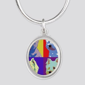 Westie a la Warhol! Silver Oval Necklace