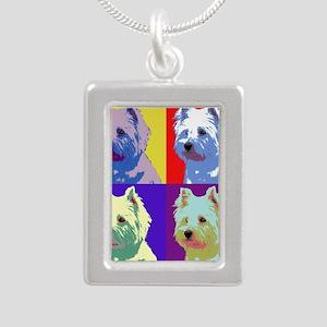 Westie a la Warhol! Silver Portrait Necklace