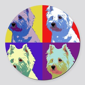 Westie a la Warhol! Round Car Magnet