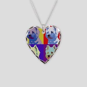Westie a la Warhol! Necklace Heart Charm