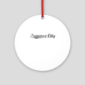 Traverse City, Vintage Round Ornament