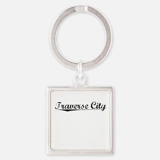 Traverse City, Vintage Square Keychain
