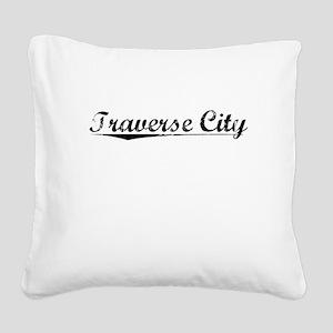 Traverse City, Vintage Square Canvas Pillow