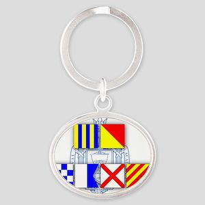 Go Navy Oval Keychain