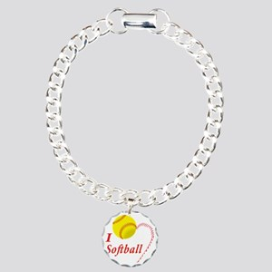 i love softball Charm Bracelet, One Charm