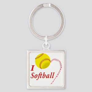 i love softball Square Keychain