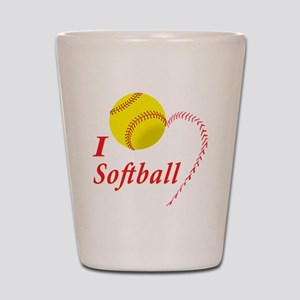 i love softball Shot Glass