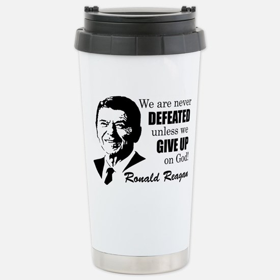 Never Defeated! Stainless Steel Travel Mug
