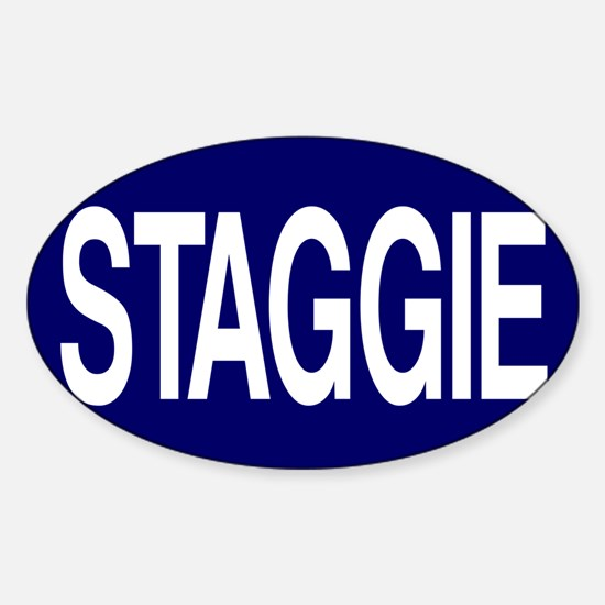 Staggie Nvy for Wh Sticker (Oval)