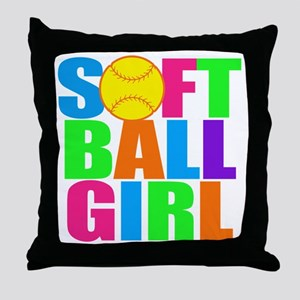 softball girl Throw Pillow