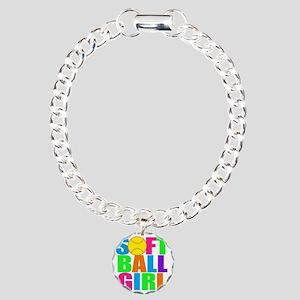 softball girl Charm Bracelet, One Charm