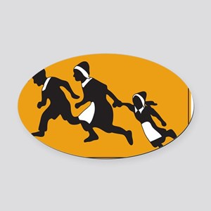 Pilgrims - The first illegal alien Oval Car Magnet