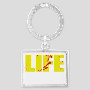 life begins(blk) Landscape Keychain