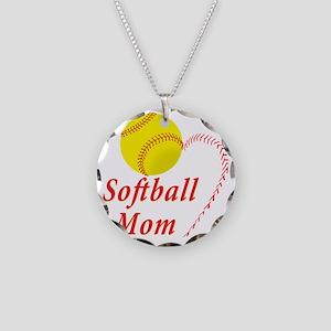 Softball Mom Necklace Circle Charm