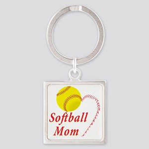 Softball Mom Square Keychain