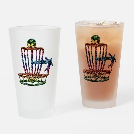 Disc Golf Basket Art Drinking Glass