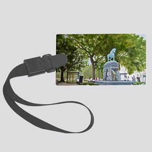Horse Fountain Print Large Luggage Tag