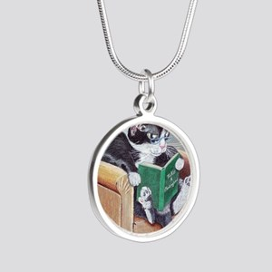 Reading Cat Silver Round Necklace
