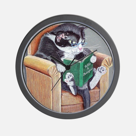 Reading Cat Wall Clock