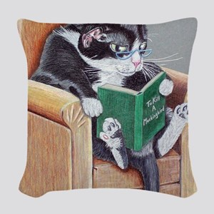 Reading Cat Woven Throw Pillow