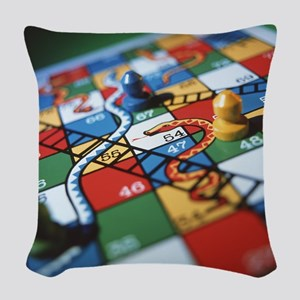 Snakes and ladders Woven Throw Pillow