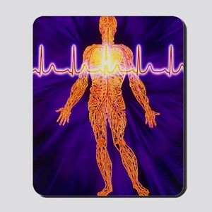 Artwork of human venous system and ECG h Mousepad