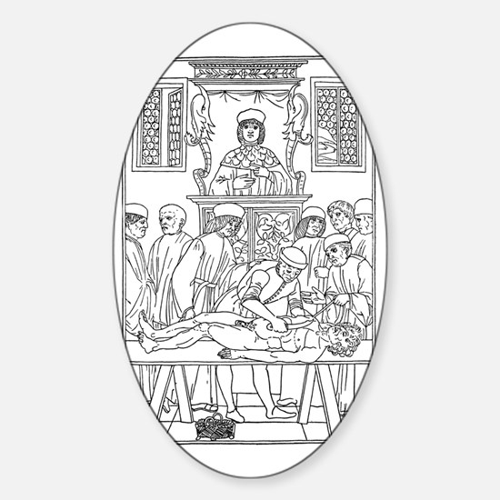 15th century anatomical lecture Sticker (Oval)