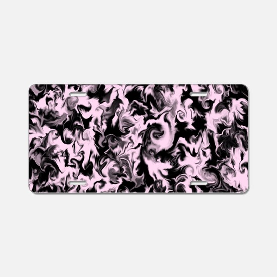 Barely Berry Pink & Black Aluminum License Plate