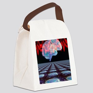 Abstract artwork of human brain Canvas Lunch Bag