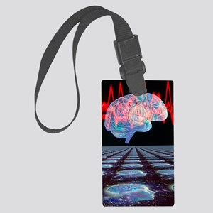 Abstract artwork of human brain Large Luggage Tag