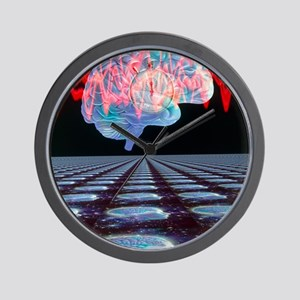 Abstract artwork of human brain Wall Clock